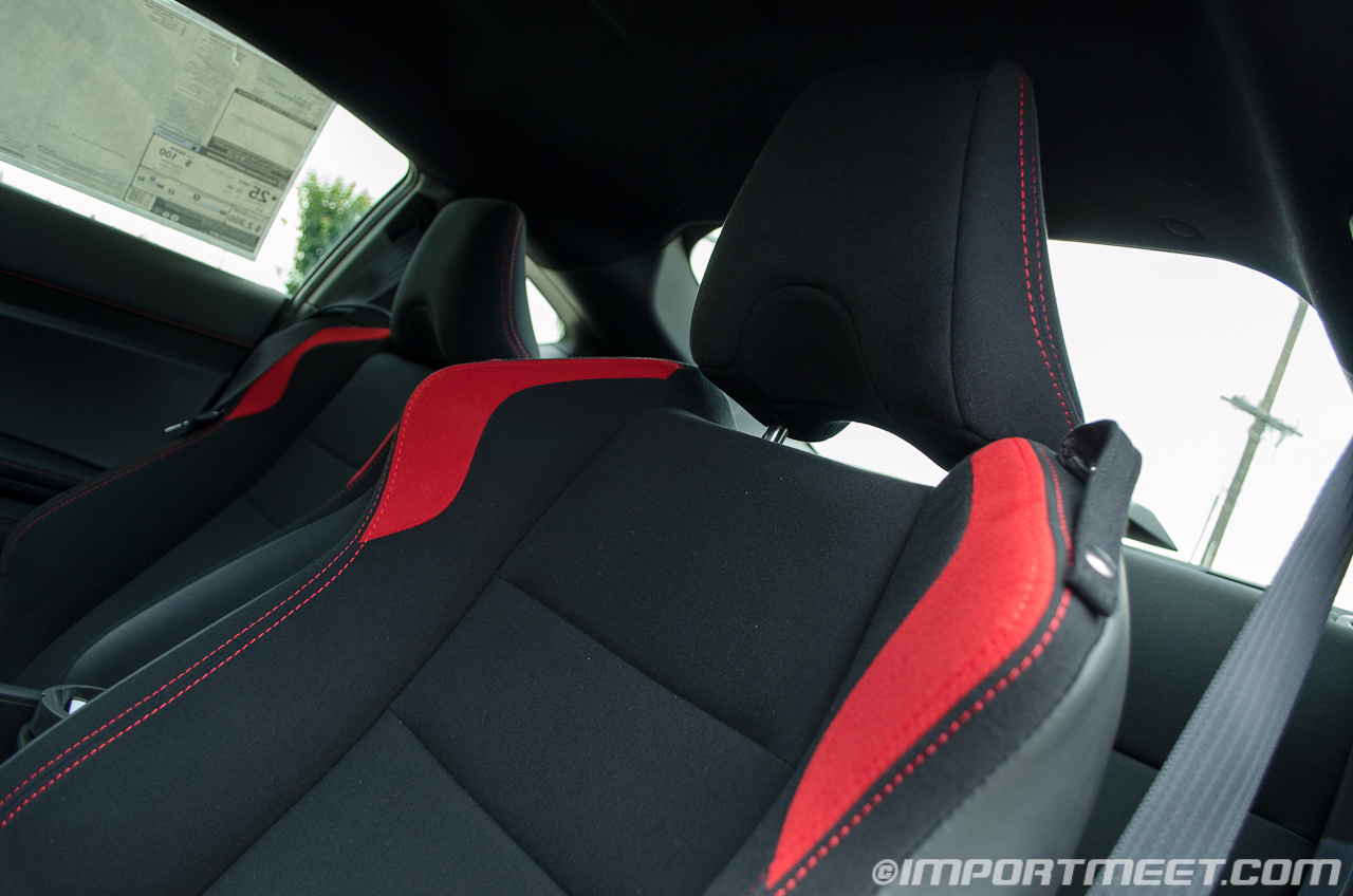 Compared to an S2000, I felt that the seats in the FR-S were more  supportive. I prefer the look of leather seats but the suede-like seat  material in the ...